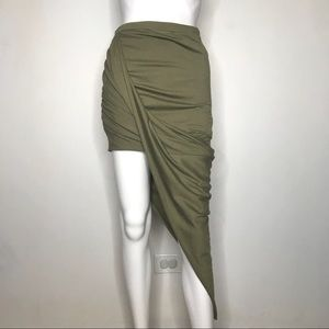 Hommage LA Army Green High Low Maxi Skirt Medium